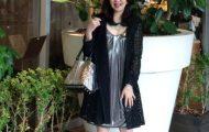 50代コーディネート☆夏日はカットワークレースサマーコートを羽織ってブラック×シルバーコーデ